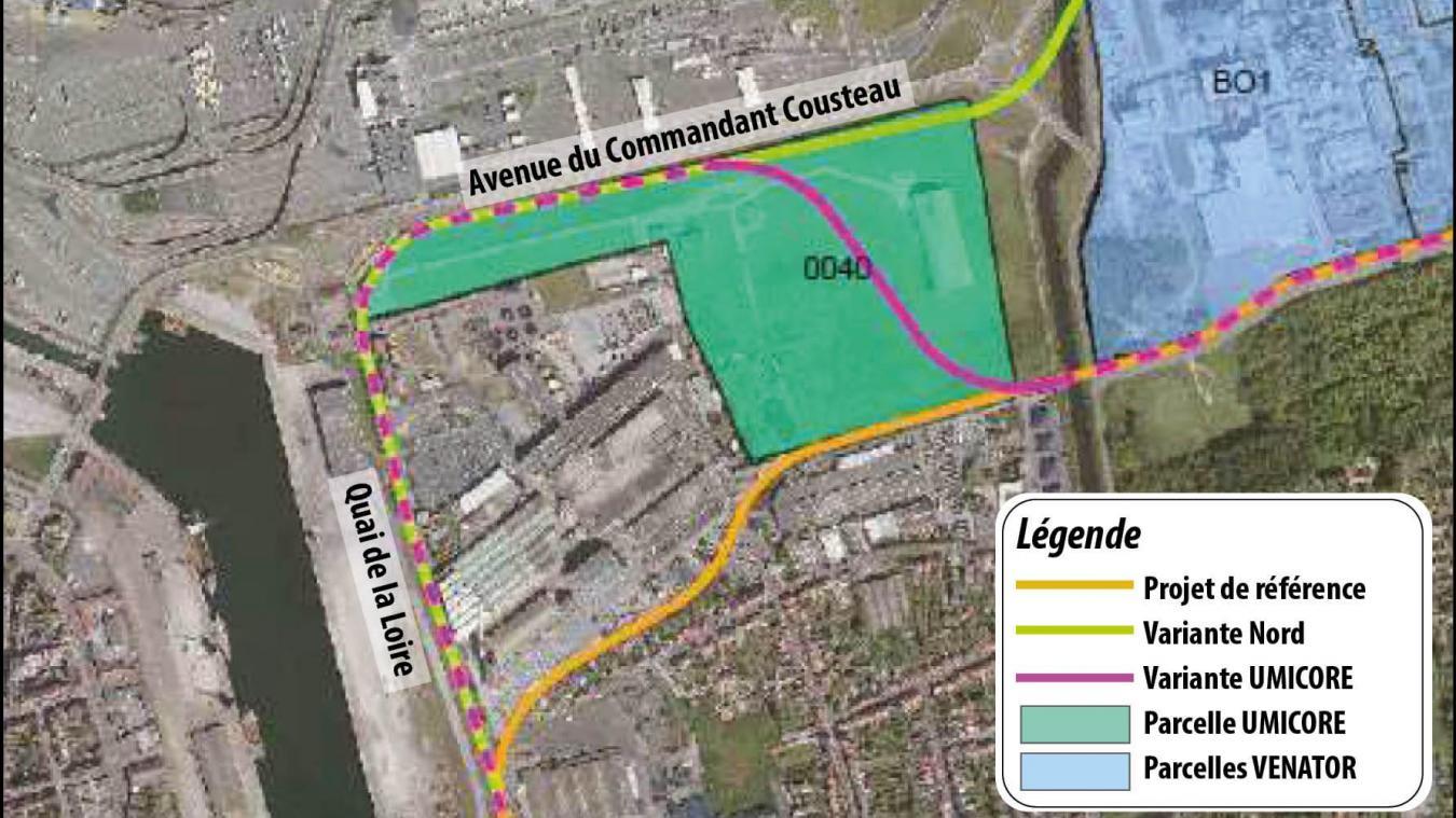 En vert, le terrain détenu par Umicore, juste à côté d'Alcatel Submarine Networks. Il va du quai de la Loire à la rue du Nord, en longeant l'avenue Cousteau.