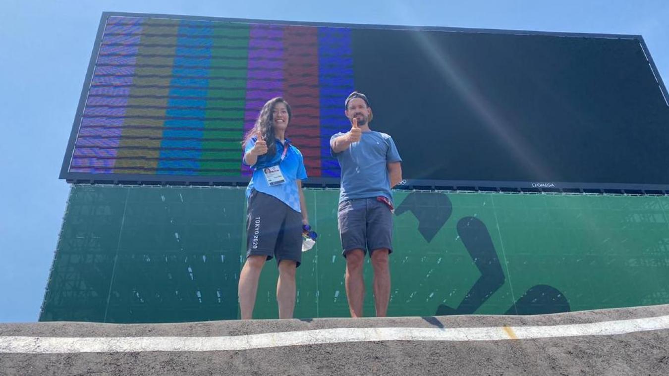 Thomas Hamon en compagnie d'Akiko Hokada, manager BMX au comité d'organisation des JO de Tokyo.