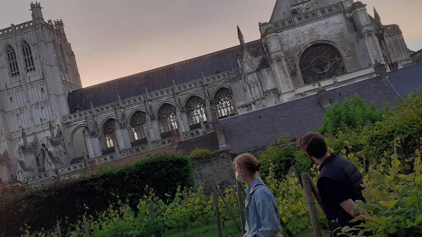 Alors que le soleil décline, la majestueuse cathédrale livre quelques-uns de ses secrets aux participants de la balade.