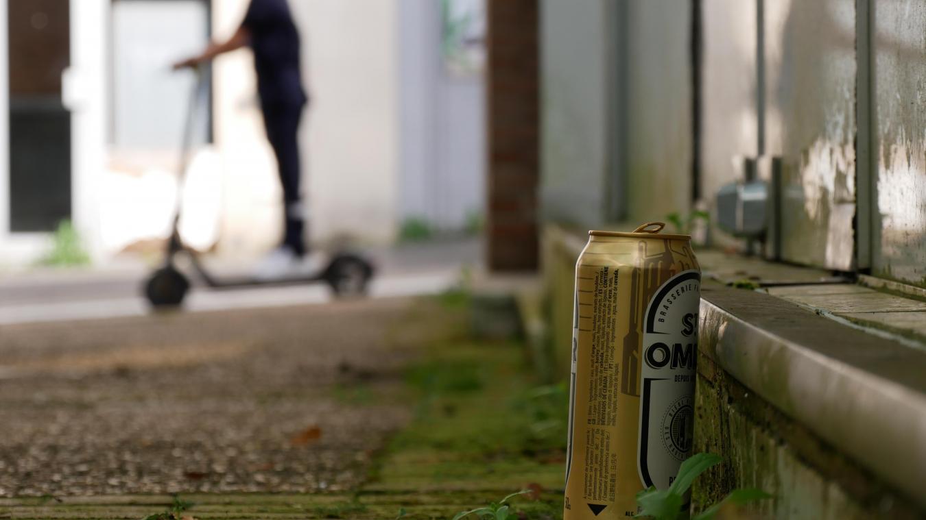 Une canette de bière dans le passage de la Flânerie, vendredi 10 septembre.
