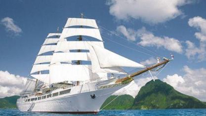 Le voilier de luxe Sea Cloud II en escale à Boulogne le 10 juin