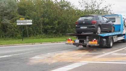 Violente collision au carrefour d'accès à l'A16 de Bonningues-lès-Calais